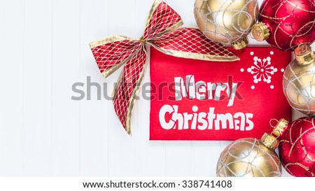 Merry Christmas card with greetings. Merry Christmas inscription
