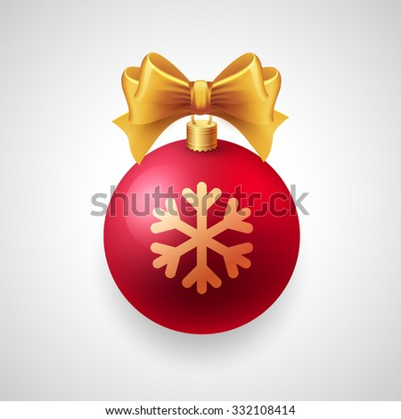 Merry Christmas card with red bauble and gold ribbon. - stock photo