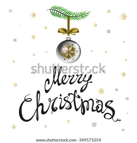 Merry Christmas. Christmas calligraphy. Handwritten modern brush lettering. Hand drawn design elements. art - stock photo