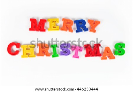 Merry christmas colorful text on a white background