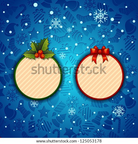 Merry Christmas, Creative label. background with snowflakes. bitmap version - stock photo