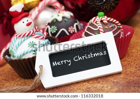 Merry Christmas cupcakes card design - stock photo