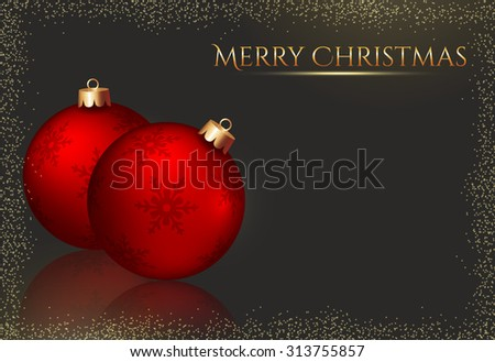 Merry Christmas! Elegant greeting card with red christmas balls and space for text. Raster background.
