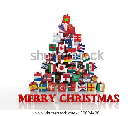 Merry Christmas everyone! Christmas tree made from gift boxes with different flags - stock photo