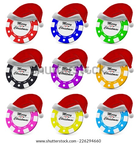 Merry Christmas gamble casino chips in red fluffy Santa Claus hat collection set with sign on white background 3D illustration - stock photo