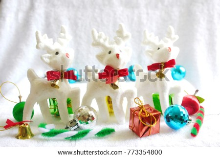 Merry Christmas Gifts On A White Background Deer Three Design Ideas