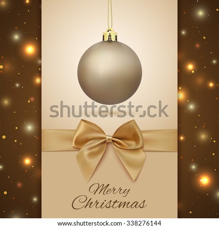 Merry Christmas greeting card. Christmas Tree decoration on background with particles. Golden Christmas ball.