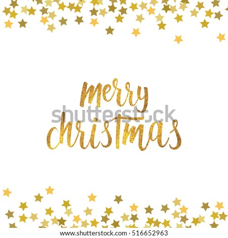 Merry christmas greeting card gold text stock illustration 516652963 merry christmas greeting card gold text on white background with confetti handwritten brush lettering m4hsunfo