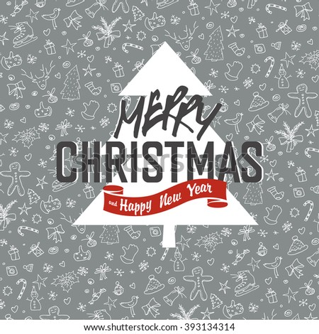 Merry Christmas Greeting Card on White Xmas Hand Drawn Background. Raster version. - stock photo