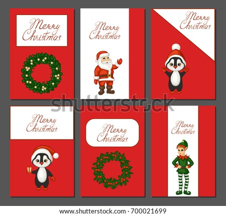 Merry Christmas Greeting Card Set Cute Stock Illustration 700021699