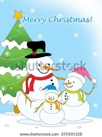 Merry christmas greeting card with cute little snowman family and christmas tree on falling snow background - stock photo
