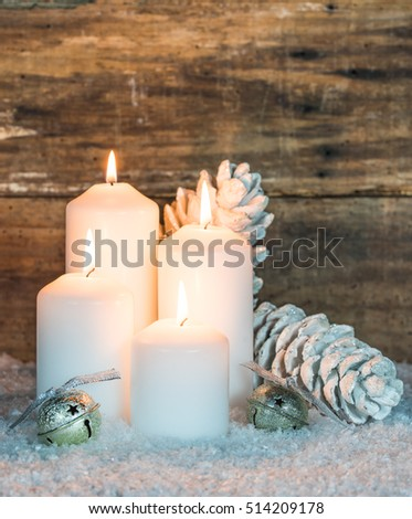 Merry Christmas greeting card with festive burning candles