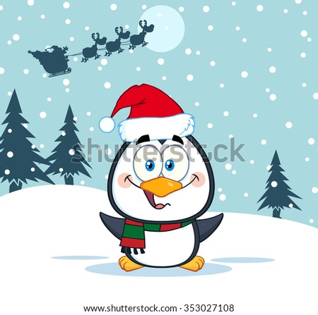 Merry Christmas Greeting With Cute Penguin Cartoon Character. Raster Illustration Santa In Flight - stock photo