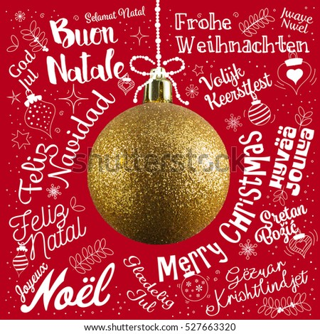 Vector colorful greetings cards merry christmas stock vector merry christmas greetings card from world in different languages with golden ball tree calligraphic text m4hsunfo