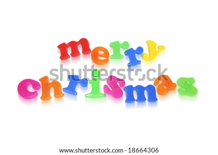 Merry Christmas Greetings Formed by Alphabets