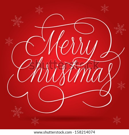 Merry Christmas Greetings Slogan on red background Raster version. - stock photo