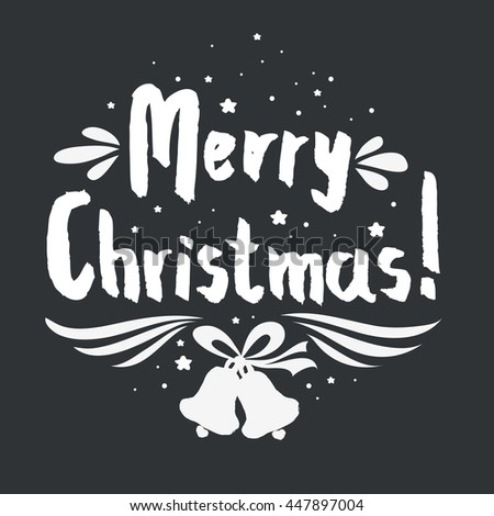Merry Christmas. Hand lettering. For invitation and greeting card, prints and posters. Hand drawn typographic design. - stock photo