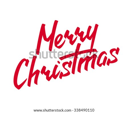 Merry Christmas Hand lettering Greeting Card. Typographical Background. Handmade calligraphy - stock photo