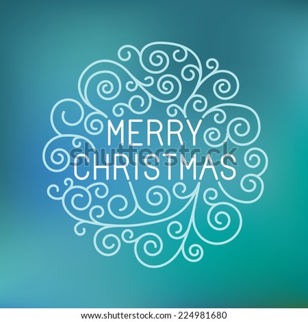 Merry christmas hand lettering in outline style - greeting card with decorative typography and line flourishes on blue blurred background - raster illustration - stock photo
