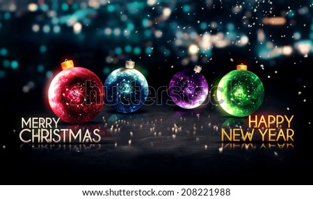 Merry Christmas Happy New Year Colorful Baubles Background - stock photo
