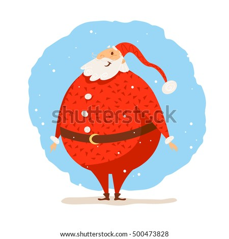 Merry Christmas, Happy New year congratulation design. Santa Claus funny character portrait. Cartoon style. Good for xmas postcard, card, banner, advertisement, flayer, leaflet design.