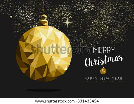 Merry christmas happy new year fancy gold ornament bauble shape in hipster origami style. Ideal for xmas card or elegant holiday party invitation - stock photo