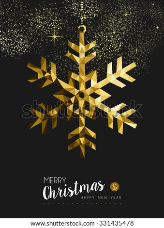 Merry christmas happy new year fancy gold winter snowflake shape in hipster origami style. Ideal for xmas card or elegant holiday party invitation. - stock photo