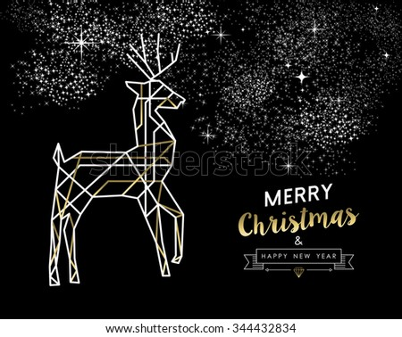 Merry Christmas Happy New Year gold and white deer in outline art deco style. Ideal for holiday greeting card, xmas poster or web.  - stock photo