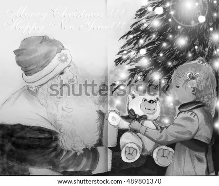 Merry Christmas, Happy New Year - greeting card, painted markers, Santa Claus gives the girl a teddy bear near a Christmas tree with lights. Girl in a dark dress in retro style.  Russian Father Frost.