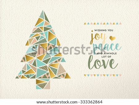 Merry christmas Happy new year triangle pine tree design in retro geometry style with gold and pastel color on texture background. Ideal for xmas greeting card or holiday event.  - stock photo