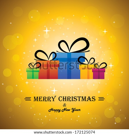 Merry christmas & happy new year with gifts - concept illustration. This abstract graphic contains colorful gift boxes with xmas lights bokeh & stars in the background - stock photo