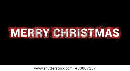Merry Christmas headline. Artistic illustration with red paint-splatters and scratches on black background and white, bold letters.