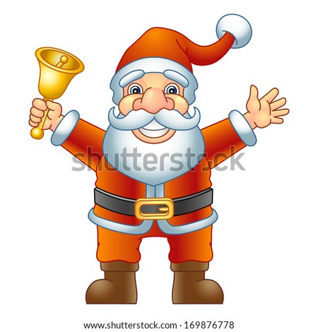 Merry Christmas, Ho-Ho-Ho! Santa Claus with a handbell. Raster version, EPS file also included in the portfolio. - stock photo