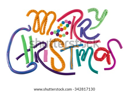 Merry Christmas holiday letters handmade of plasticine - stock photo