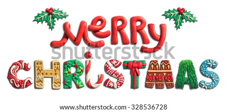 Merry Christmas holiday letters handmade of plasticine. Christmas lettering and typography. Holiday decorated letters isolated on white background with holly plants.  - stock photo