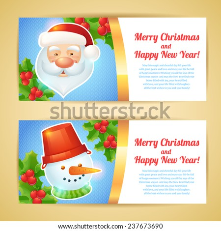 Merry christmas horizontal banners with santa claus and snowman isolated  illustration - stock photo