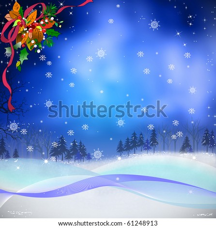 Merry Christmas illustration for Christmas with pine tree and snow and ribbon