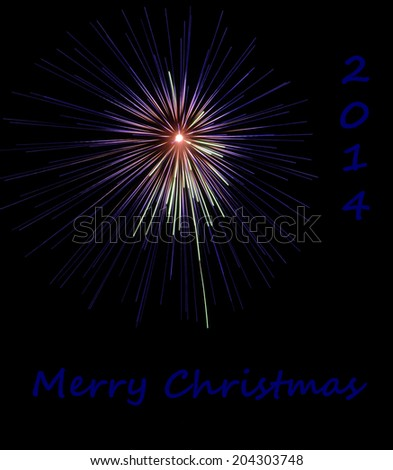 Merry Christmas 2014 in blue text with fireworks background depicting the Star Of Bethlehem or Christmas Star - stock photo