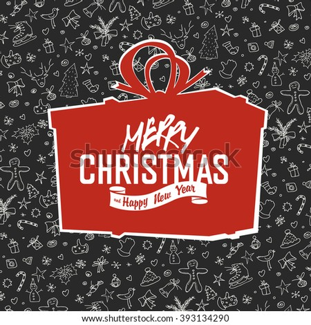 Merry Christmas Lettering on Red Gift Box Silhouette. On hand drawn xmas background. Raster version. - stock photo