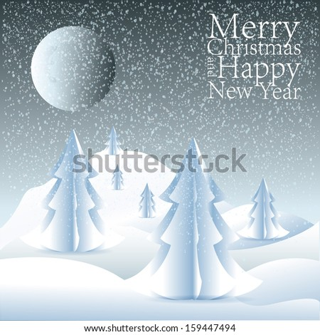 Merry Christmas lettering tree background,