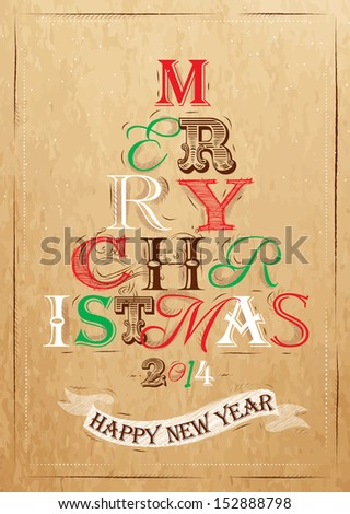 Merry Christmas lettering tree from letters stylized for the drawing on kraft paper of red, brown, white, green. Raster version   - stock photo