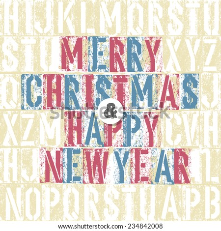 Merry Christmas Letterpress Concept With Colorful Letters. Raster version - stock photo