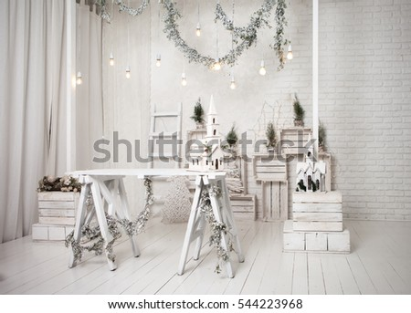Merry christmas loft background. white decor with fir trees and lamps