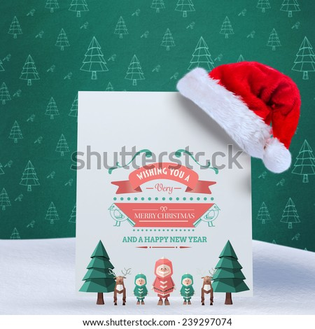 Merry christmas message against green christmas tree pattern - stock photo
