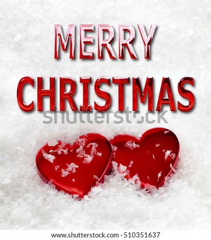 Merry Christmas message with two red love hearts on a snow background