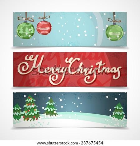 Merry christmas new year holiday elements horizontal banners set isolated  illustration - stock photo