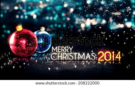 Merry Christmas 2014 Night Bokeh Beautiful 3D Background Red Blue - stock photo