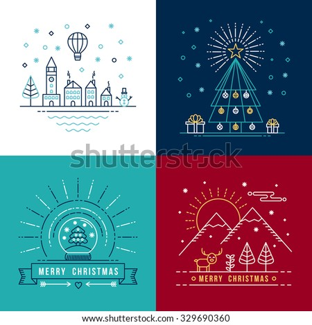 Merry christmas outline label set with winter city, xmas tree, snow globe, and reindeer elements. Ideal for holiday invitation or greeting card. - stock photo
