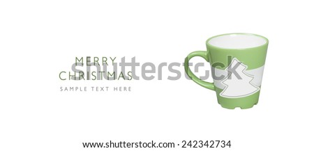 Merry Christmas, Paper tree shape on green mug with place for your text, isolated on white background - stock photo