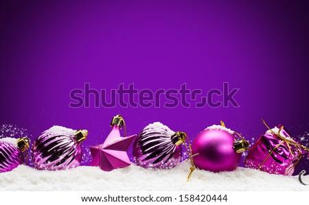 Merry Christmas -purple background - stock photo